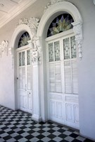 Historic District Doors with Stucco Decor and Tiled Floor, Puerto Rico Fine Art Print