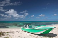 Boat and Turquoise Water on Pillory Beach, Turks and Caicos, Caribbean by Walter Bibikow - various sizes