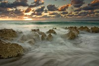Cayman Islands, Waves near George Town, sunset, beach Fine Art Print