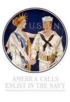 Vintage World War II - Liberty Shaking Hands with a Sailor Fine Art Print