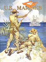 WWI - Two Marines on the Beach Fine Art Print