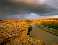 Approaching storm on the Milk River at Writing on Stone Provincial Park, Alberta, Canada Fine Art Print