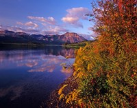 Maskinonge Lake with mountains in the background, Waterton Lakes National Park, Alberta Fine Art Print