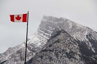 Canada, Alberta, Banff Mountain view with flag by Cindy Miller Hopkins - various sizes - $32.49
