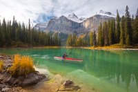 Kayaker on Maligne Lake, Jasper National Park, Alberta, Canada Fine Art Print