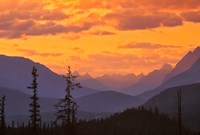 Alberta, Baniff NP, Sunset on Mountain ridges Fine Art Print