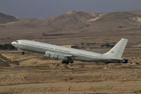 A Boeing 707 Re'em of the Israeli Air Force over Israel Fine Art Print