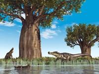 Kaprosuchus crocodyliforms near a baobab tree in a prehistoric landscape Fine Art Print