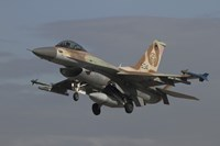 An F-16C Barak of the Israeli Air Force prepares for landing by Ofer Zidon - various sizes
