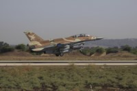 An F-16D Barak of the Israeli Air Force taking off by Ofer Zidon - various sizes