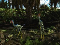 Caudipteryx wander a prehistoric landscape by Walter Myers - various sizes