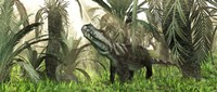 An archosaur wanders amidst cycads and ferns in a prehistoric swamp by Walter Myers - various sizes