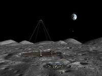A giant liquid mirror telescope lies nestled in a lunar crater by Walter Myers - various sizes