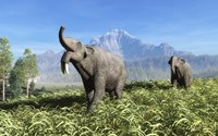 Deinotherium traverse the rolling plains of what is today Europe by Walter Myers - various sizes, FulcrumGallery.com brand