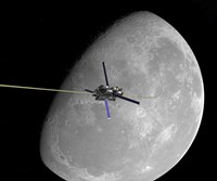 A manned lunar space elevator ascends from the surface of the moon by Walter Myers - various sizes