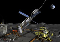 A manned lunar space elevator prepares to depart from its manned lunar base by Walter Myers - various sizes