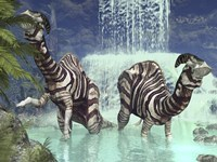 A pair of Parasaurolophus feed on flora near a waterfall by Walter Myers - various sizes, FulcrumGallery.com brand