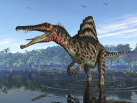 A Spinosaurus searches for its next meal by Walter Myers - various sizes