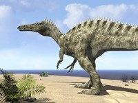 A carnivorous Suchomimus wanders a beach on the ancient Tethys Ocean by Walter Myers - various sizes