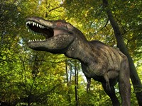 A Tyrannosaurus wanders a Cretaceous forest by Walter Myers - various sizes - $47.99