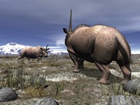 A pair of male Elasmotherium confront one another by Walter Myers - various sizes, FulcrumGallery.com brand