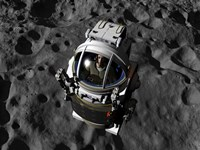 An astronaut piloting a Manned Maneuvering Vehicle above the surface of an asteroid Fine Art Print