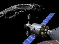 A Manned Maneuvering Vehicle undocks and prepares to descend to the surface of a small asteroid Fine Art Print