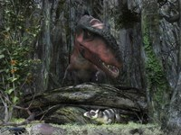 A rat-sized Purgatorius hides from a Bistahieversor dinosaur in a cretaceous forest by Walter Myers - various sizes