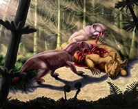 Biarmosuchus predators eating the flesh of a Estemmenosuchus by Yuriy Priymak - various sizes