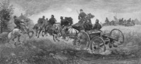 Vintage Civil War print of a team of horses pulling a cannon into battle by John Parrot - various sizes