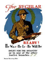 American Infantryman Holding His Rifle by John Parrot - various sizes, FulcrumGallery.com brand
