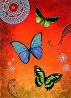 Fluorescent Green and Blue Butterflies Fine Art Print