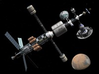 A Manned Mars Cycler Space Station Approaches the Planet Mars by Walter Myers - various sizes