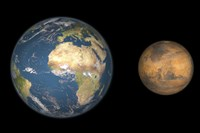 Artist's Concept Comparing the Size of Mars with that of the Earth by Walter Myers - various sizes