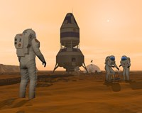 Illustration of Astronauts Setting up a Base on the Martian Surface around their Lander Vehicle Fine Art Print