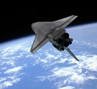 Artist's concept of a Space Shuttle entering Earth orbit by Walter Myers - various sizes, FulcrumGallery.com brand