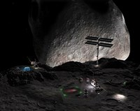 Artist's Concept of a Mining Settlement on the Double Asteroid 90 Antiope by Walter Myers - various sizes