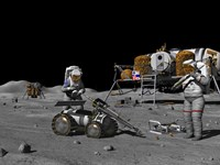 Artist's Concept of a Future Lunar Exploration Mission by Walter Myers - various sizes