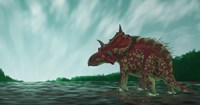 A Xenoceratops in the Shallow Waters of a Prehistoric River Fine Art Print