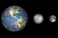 Artist's Concept of the Earth, Mercury, and Earth's moon to Scale Fine Art Print