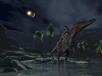 An Asteroid Impact on the Moon while a Spinosaurus Wanders in the Foreground Fine Art Print