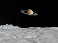 Artist's concept of Saturn as seen from the Surface of its Moon Lapetus Fine Art Print