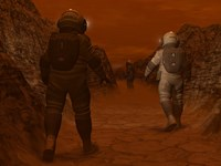 Artist's concept of Astronauts Exploring a Dry Gully on Saturn's Moon Titan by Walter Myers - various sizes - $47.49