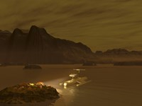 Artist's concept of a Robotic Probe Exploring a Frigid Ethane Lake on Titan by Walter Myers - various sizes