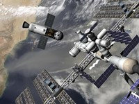 Artist's concept of a Trans-Lunar Space Tug Departing the International Space Station by Walter Myers - various sizes