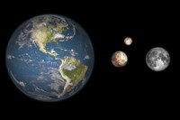 Artist's concept of the Earth, Pluto, Charon, and Earth's moon to scale by Walter Myers - various sizes