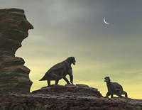 Two Giant Moschops Face off on a Sandstone Mesa 250 Million years ago by Walter Myers - various sizes - $47.99