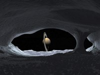 Artist's Concept of how Saturn might appear from within a Hypothetical Ice Cave on Lapetus by Walter Myers - various sizes - $47.99