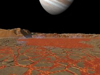 Artist's concept of a view Across a Pool of Lava on the Surface of Lo, Towards Jupiter Fine Art Print