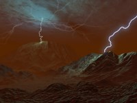 Artist's concept of Lightning in Venus' clouds Fine Art Print